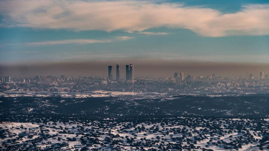 Boina de contaminación sobre Madrid, el pasado mes de enero