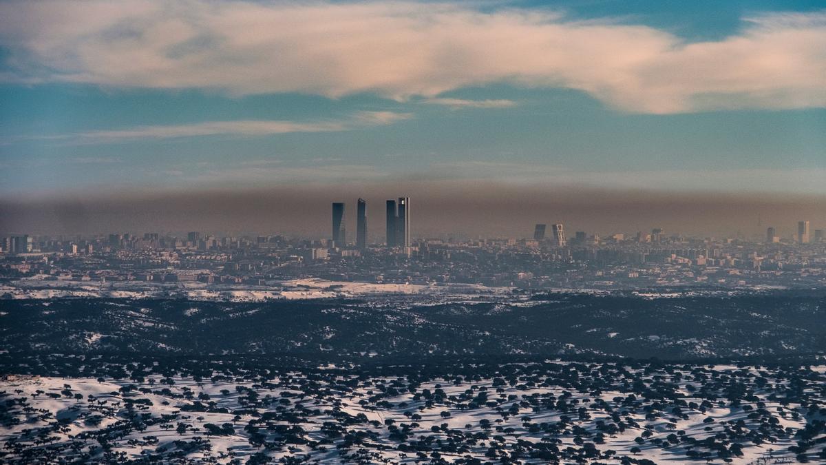 Boina de contaminación sobre Madrid.
