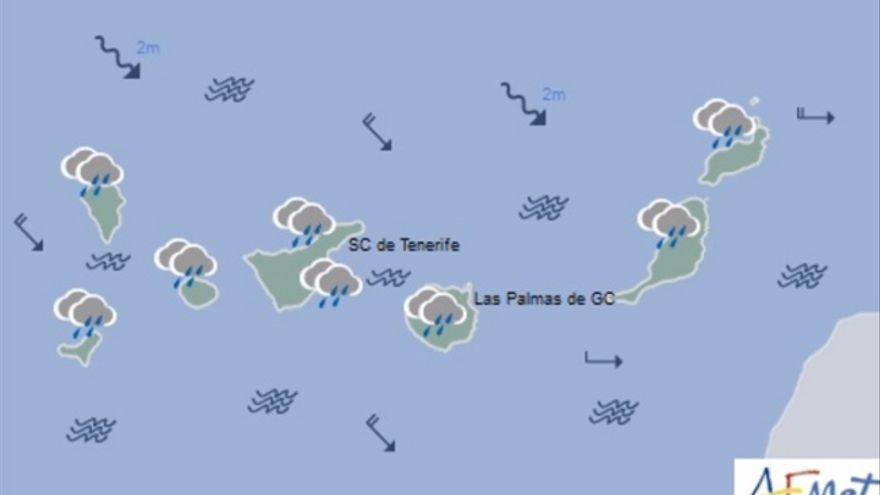 Mapa de la previsión meteorológica para el sábado 26 de noviembre