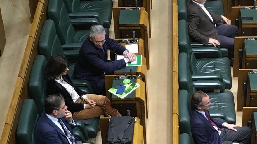 Escaños vacíos en el Parlamento Vasco y sólo una mujer, Laura Garrido.