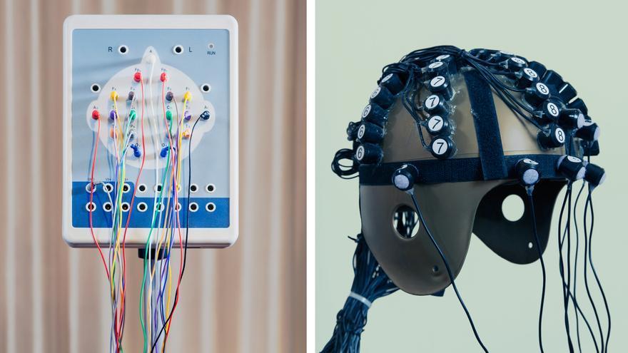 """Los dispositivos que utiliza Andrew Vladimirov para modificar su estado de ánimo. A la derecha, el """"Casco de Dios"""""""