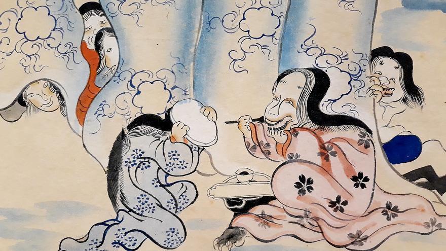 Rollo ilustrado del desfile nocturno de los cien demonios (detalle). Periodo Edo, siglo XIX