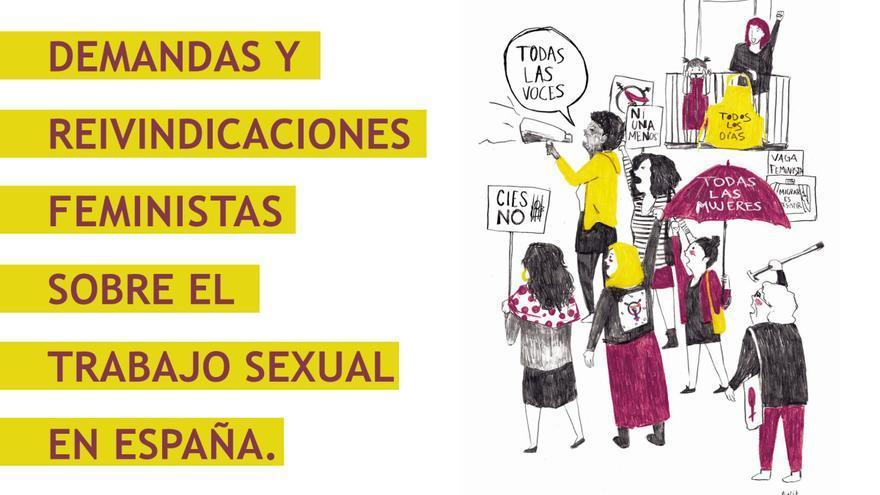 Cartel de la manifestación del Colectivo de Prostitutas de Sevilla, diseñado por María Michel