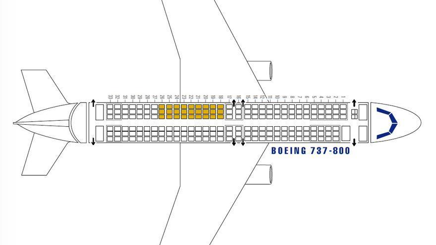 Un avión 737-800 con 27 asientos de más.
