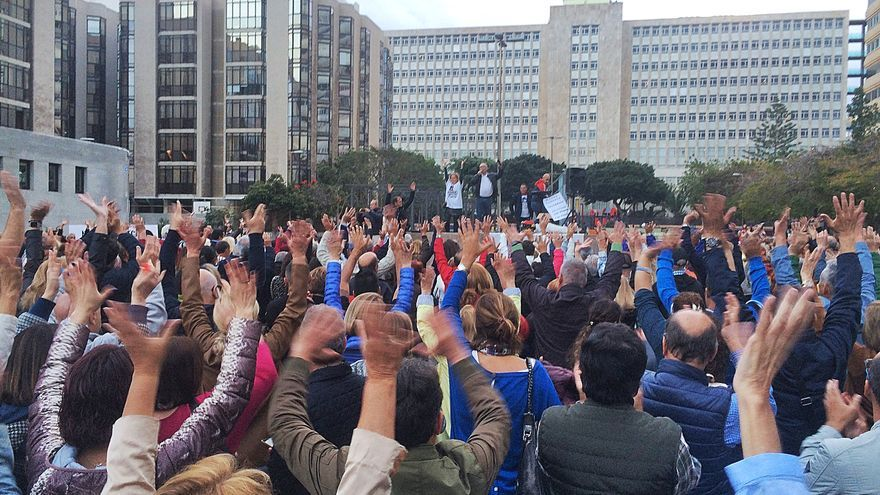 Manifestación en Las Palmas de Gran Canaria de la Plataforma de Afectados por la Ley Turística.