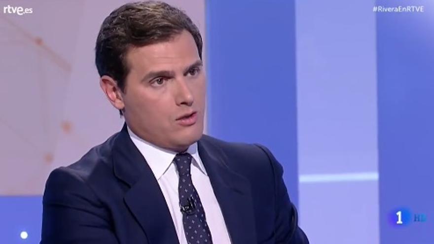Albert Rivera, durante la entrevista en TVE.