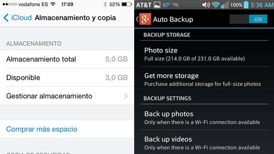 Opciones para activar y desactivar la copia de seguridad automática en la nube en iPhone, Android y Windows Phone