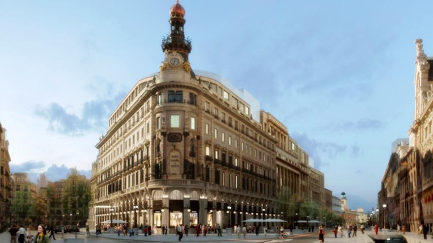 La plaza Canalejas según el proyecto de Villar Mir