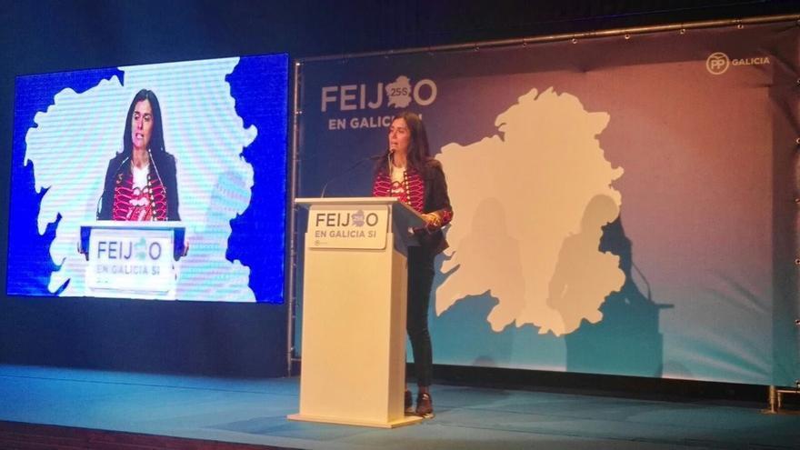 Paula Prado, en el mitin del PP en Santiago