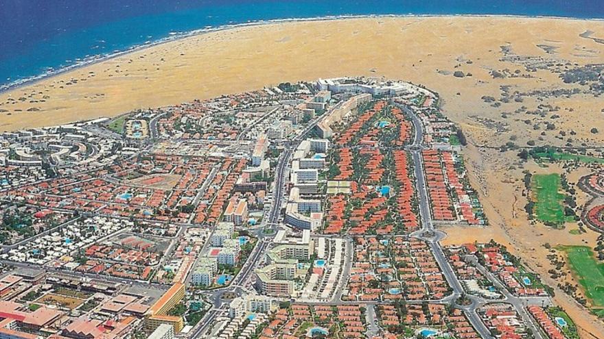 Vista aérea del centro turístico de Maspalomas.
