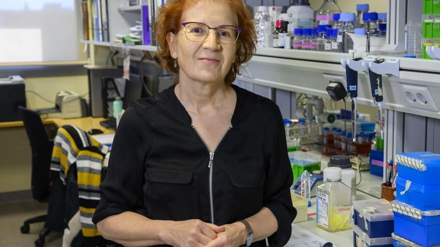 Margarita del Val, en su laboratorio.