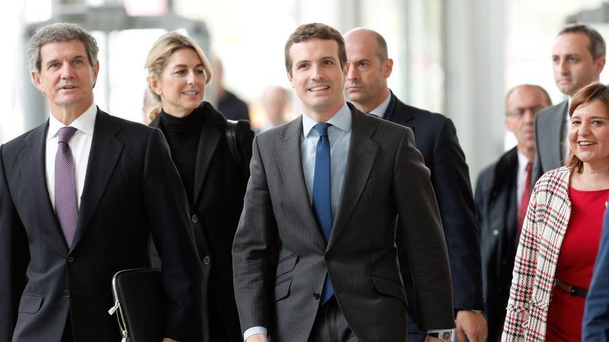 Pablo Casado a su llegada al Palacio de Congresos de Valencia