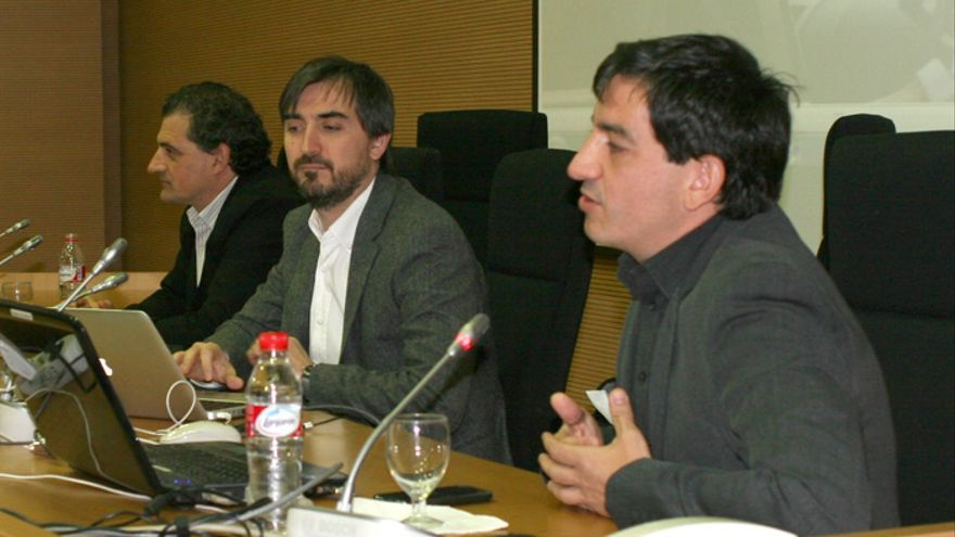 Maroto, Escolar y López durante la presentación de eldiariocv.es en Valencia