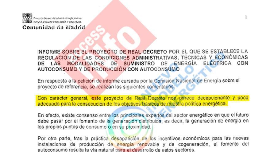 Extracto de las alegaciones de la Comunidad de Madrid al borrador de decreto de autoconsumo de julio de 2013.