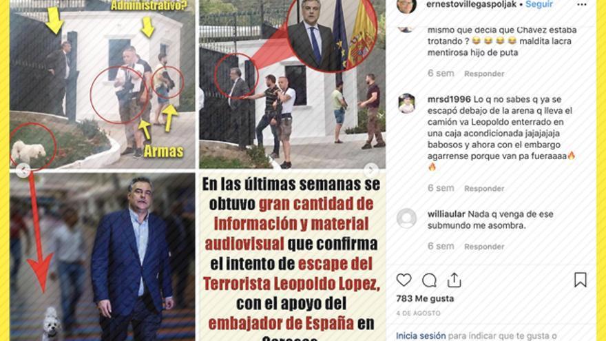 Captura del perfil de Instagram del ministro venezolano de Cultura, Ernesto Villegas
