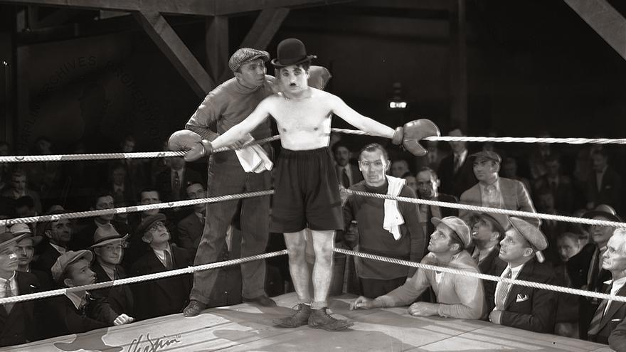 Fotografía del rodaje de 'City Lights' (1931).