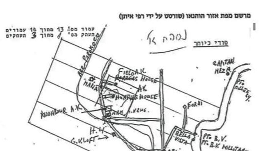 Mapa realizado por Rafi Eitan, jefe del equipo del Mossad, sobre la casa de Mengele