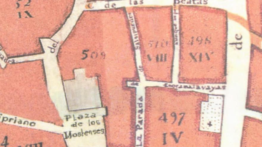 Detalle del plano de Madrid de 1769 de Espinosa (también conocido como del Duque de Aranda), en el que aparecen las calles entre Mostenses, San Bernardo y Beatas (actual Antonio Grilo)