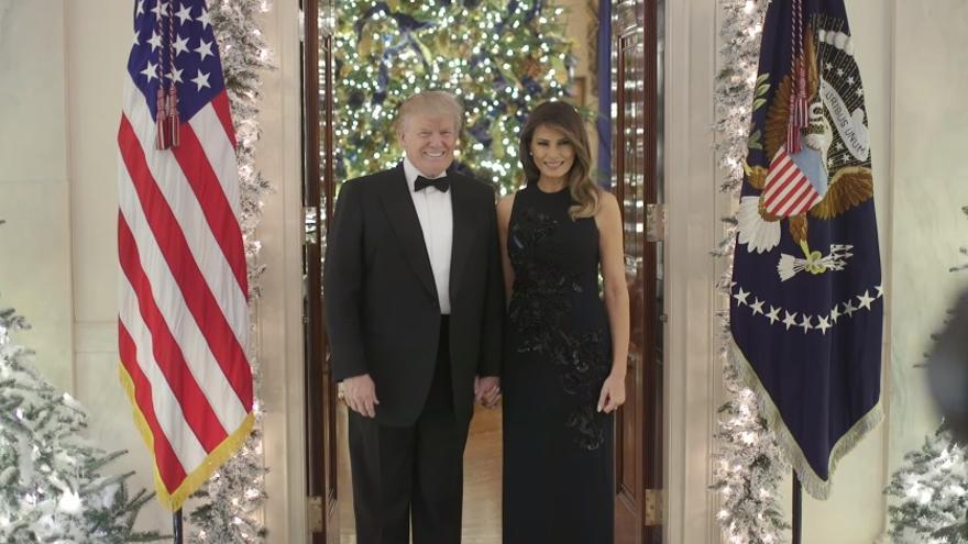 Donald y Melania Trump en su discurso de Navidad.