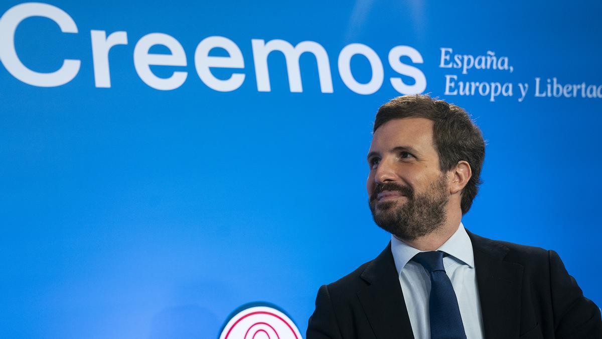 Pablo Casado, durante los cursos de verano del PP en El Escorial (Madrid).