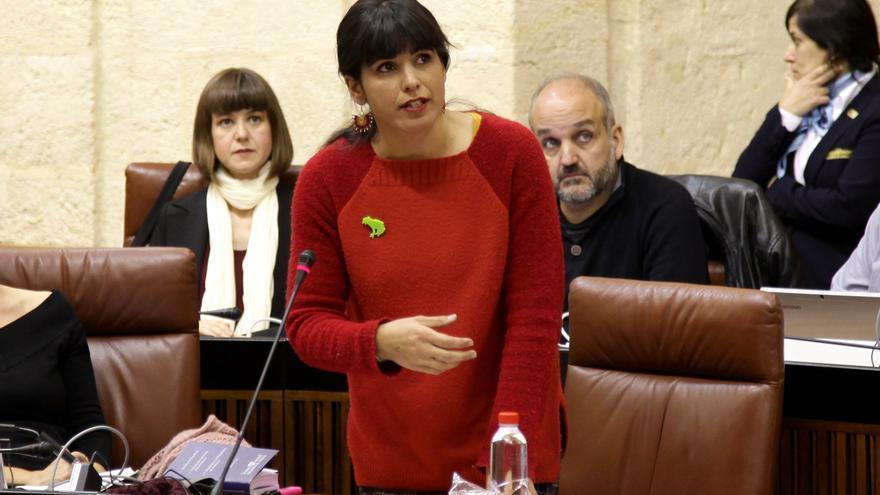Teresa Rodríguez en el pleno de esta semana.