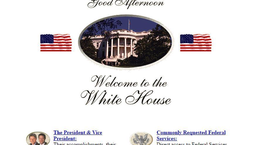 Una imagen de la web de la Casa Blanca en 1997 preservada por la Wayback Machine