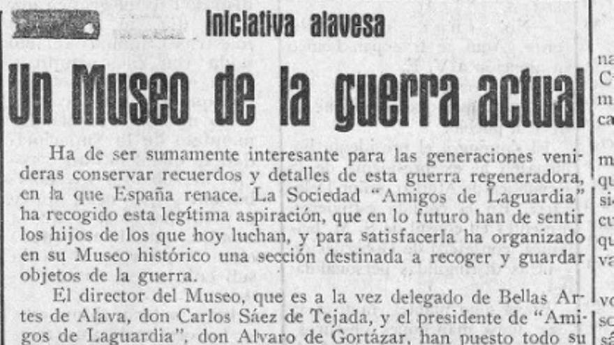Artículo  publicado en Pensamiento Alavés el 5-IV-1937 dando cuenta de la inauguración de la sección relacionada con la Guerra Civil del Museo de Laguardia (Todas las imágenes proceden de Germán Ruiz Llano)