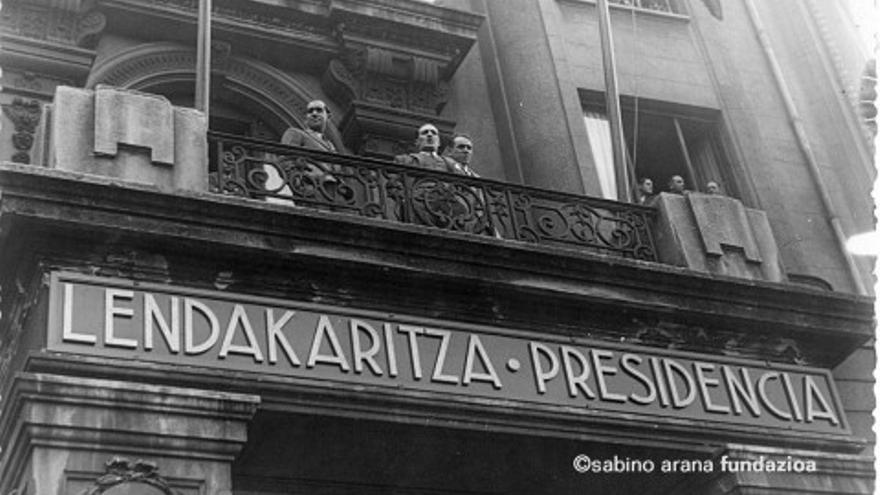 Foto del hotel Carlton durante la Guerra Civil, sede del Gobierno del lehendakari Aguirre