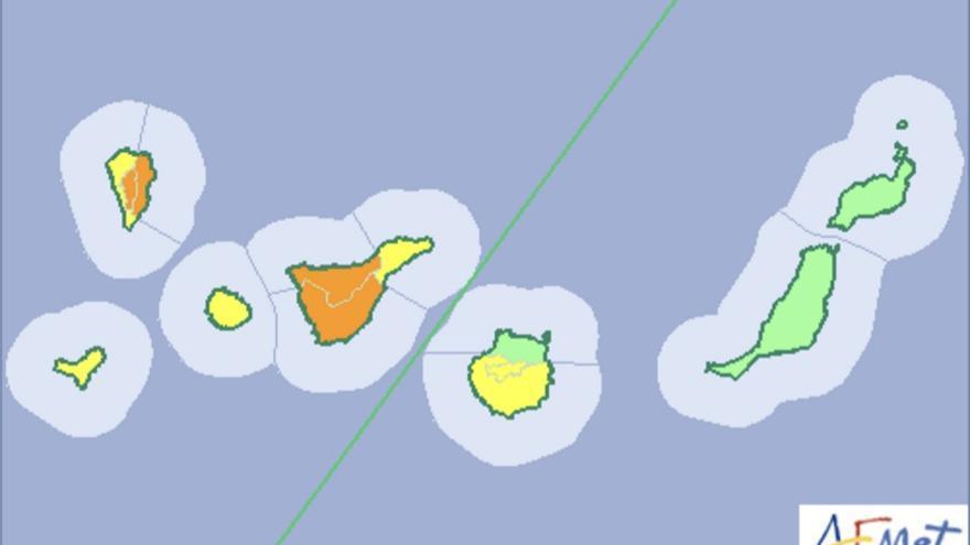 Mapa del aviso de riesgo por lluvia y viento de la Aemet para este sábado, 3 de diciembre de 2016.