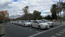 Imagen de las protestas de los taxistas en València