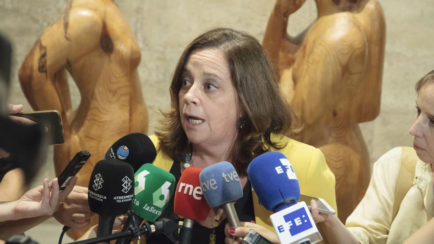 Henar Moreno, portavoz del Grupo Mixto en el Parlamento de La Rioja y diputada regional por Izquierda Unida, ofrece declaraciones a los medios de comunicación tras la investidura fallida de la candidata socialista a la presidencia de La Rioja.