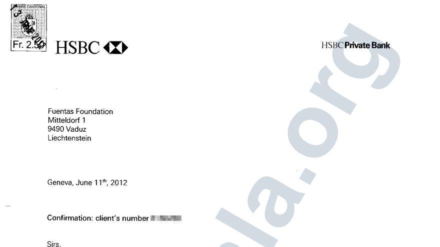 Certificado de titularidad del matrimonio Pérez-Maura de una cuenta en el banco suizo HSBC