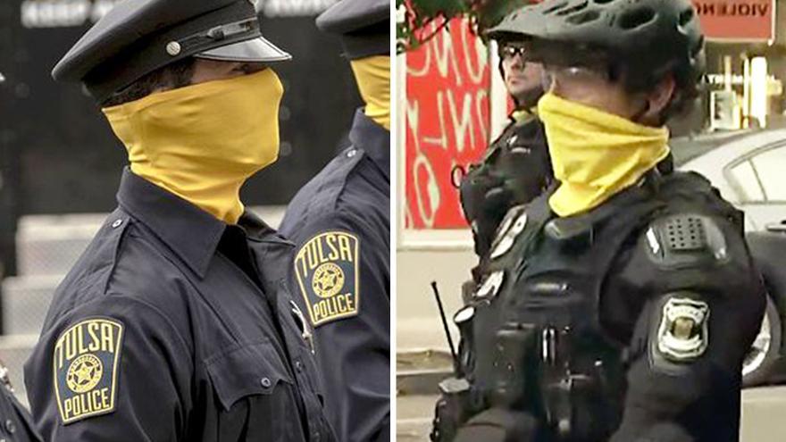 A la izquierda: la policía de Tulsa en 'Watchmen'. A la derecha: la policía de Seattle en una captura de un informativo de la MSNBC