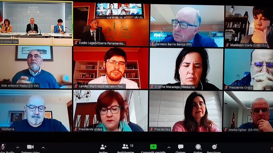 Mosaico de todos los intervinientes en la videoconferencia parlamentaria