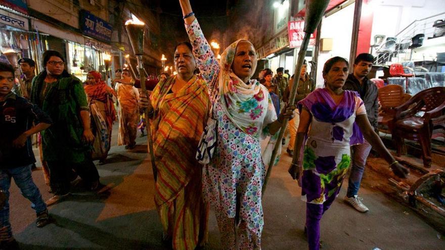 Imagen cedida por AI. La activista india Shahzadi Bi, en el 30º aniversario del desastre del Bhopal.
