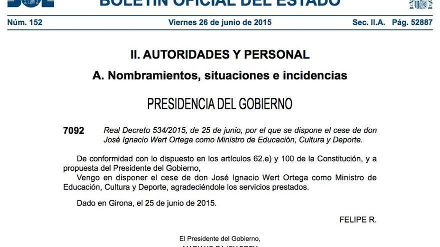 BOE: Cese de José Ignacio Wert
