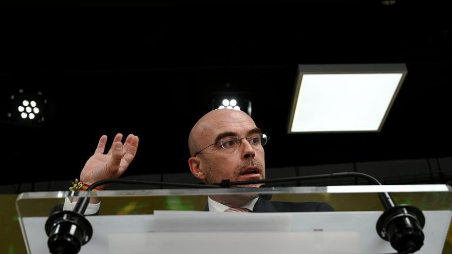 El vicepresidente Primero de Acción Política y eurodiputado de VOX, Jorge Buxadé, interviene en una rueda de prensa del Comité de Acción Política de Vox