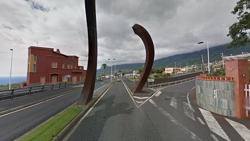 Tramo de la travesía de la carretera LP-202 ubicado en la zona de La Concepción.