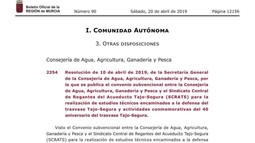 """El Gobierno de Murcia otorga una subvención de 100.000 euros al Sindicato de Regantes para """"conmemorar el 40 aniversario del Trasvase Tajo-Segura"""""""