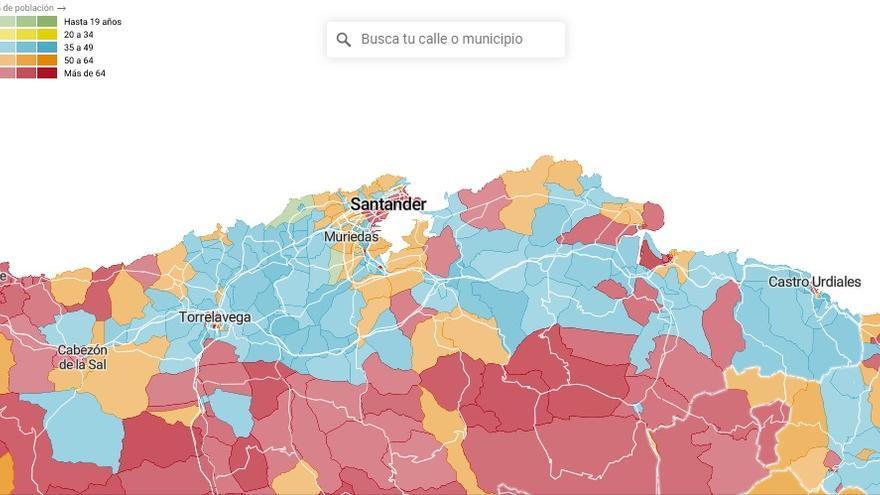 Mapa demográfico de Cantabria con datos del INE.