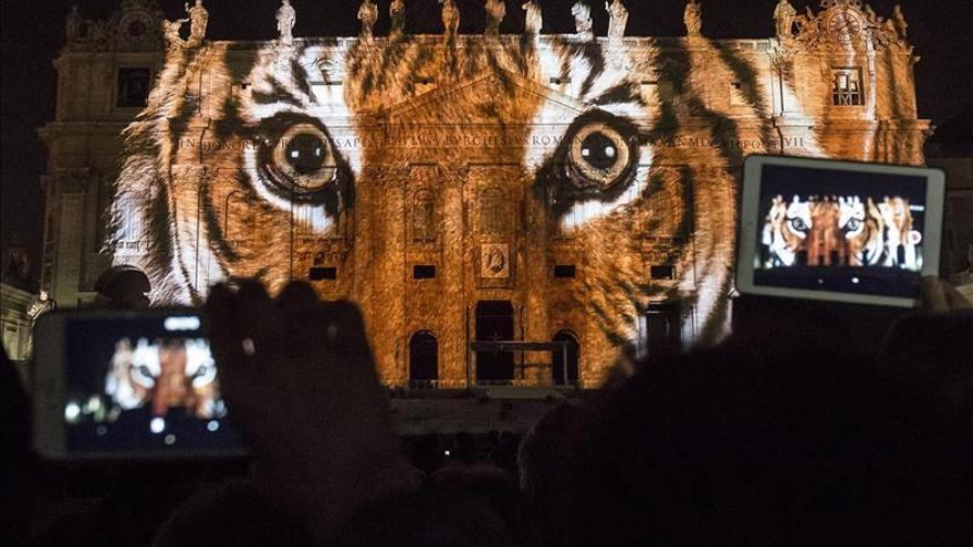 El Vaticano se tiñe de luz y color por el medio ambiente, al inicio del Jubileo