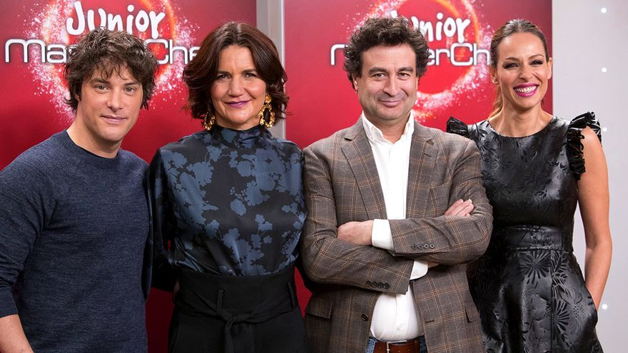 Jordi, Samantha, Pepe y Eva en la presentación de 'MasterChef Junior 2'