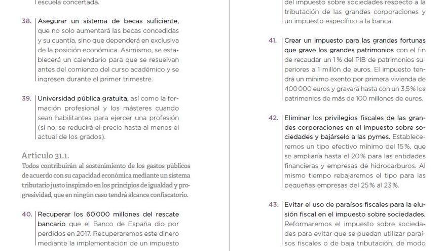 Fragmento del Programa-Constitución de Podemos para el 28 de abril de 2019.