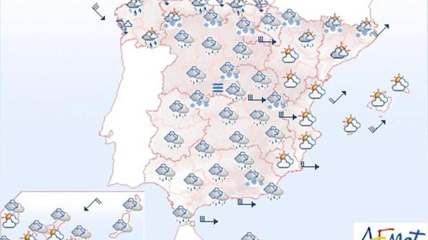 Baja la cota de nieve en península y viento fuerte en Canarias y Baleares