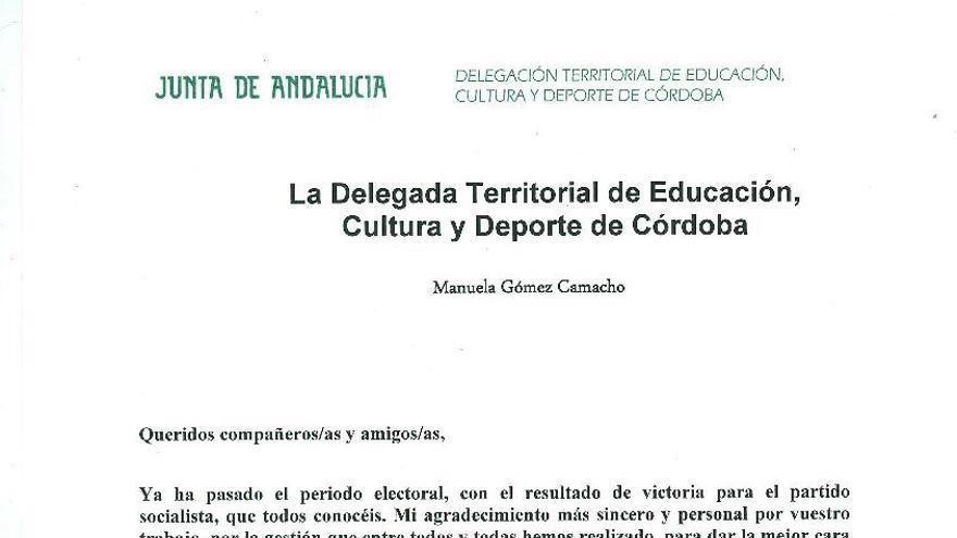 Carta de la delegada de Educación, Cultura y Deportes de la Junta de Andalucía en Córdoba felicitando a los trabajadores de la institución por el triunfo del PSOE en las elecciones del 22M.