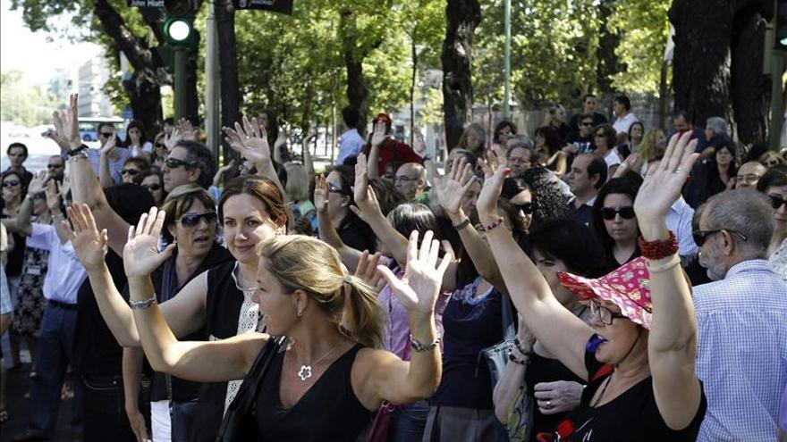 Protesta del personal laboral de Madrid. EFE