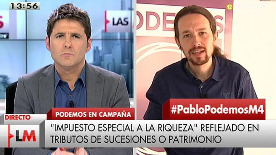 Cintora entrevista a Pablo Iglesias en Las mañanas de Cuatro.