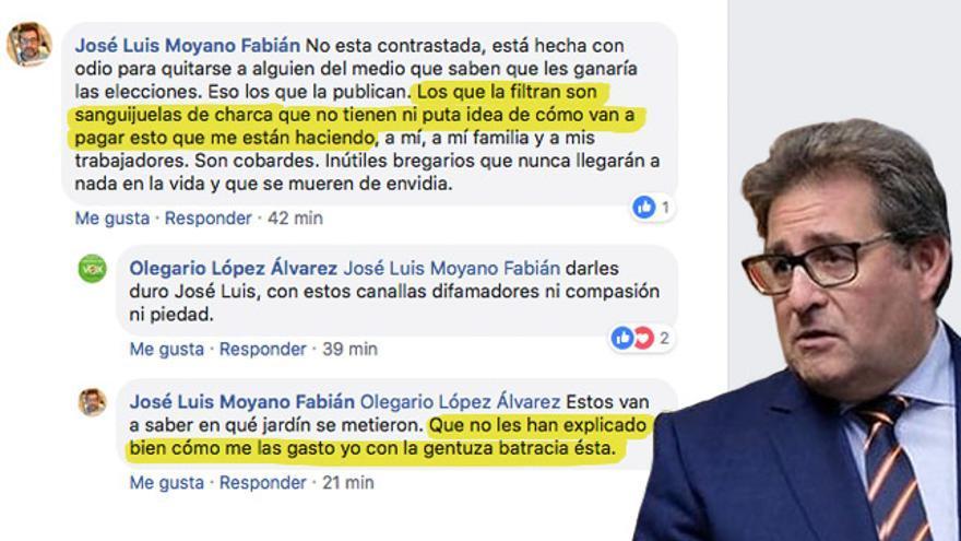 Mensajes de Facebook del líder de Vox en Las Palmas, José Luis Moyano Fabián.