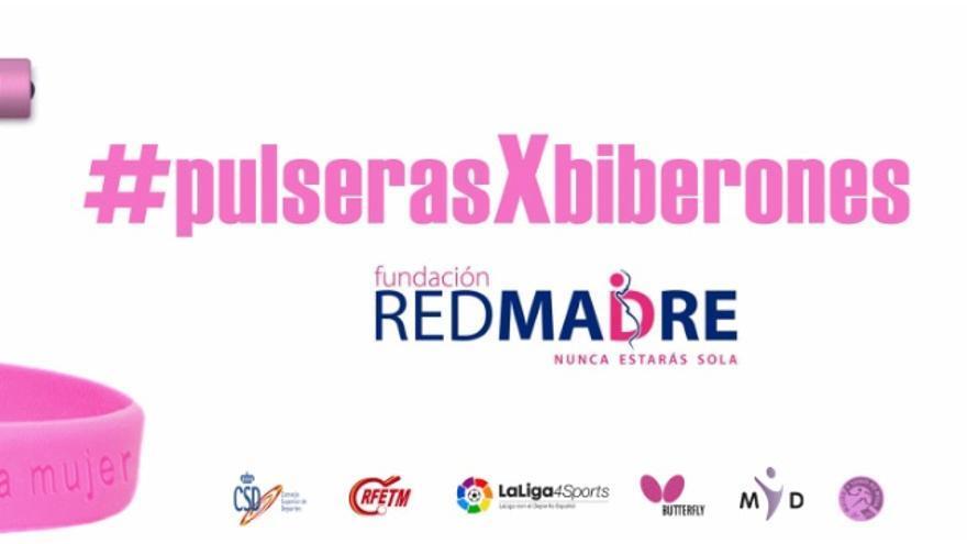 Cartel promocional de la campaña PulserasxBiberones destinada a recaudar fondos para Red Madre