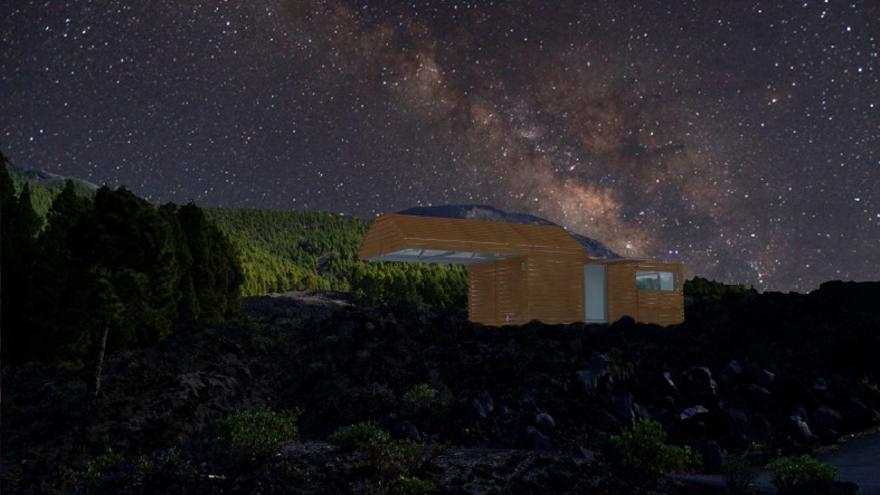 Recreación exterior de la caseta astronómica. Imagen cedida por la Consejería de Turismo.